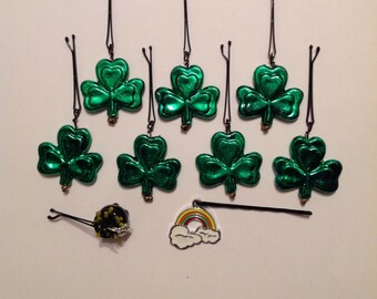 Beard Art Baubles St Patrick's Day Shamrock Hipster Gift Set of 9 High Gloss Handmade Baubles with Ultra Mini Pins