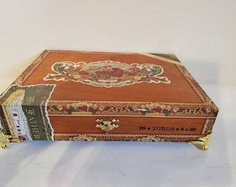 Cigar Box Jewelry Box/ Humidor Trinket Box/ Humidor Mens Gift Box/ My Father Flor de las Antillas Lacquered Wood Cigar Box
