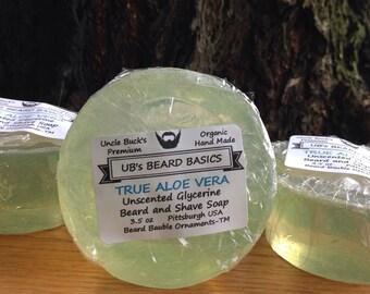Beard Soap Shave Soap True Aloe Vera Unscented Glycerine UB's Beard Basics 3.5 oz.