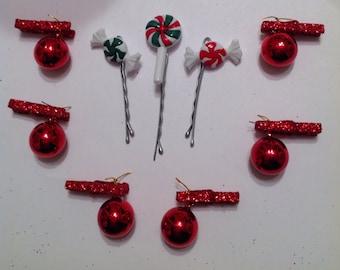 Beard Art Baubles Christmas Hipster Gray Mini Pins CANDY Set 9
