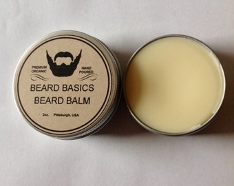 Beard Balm Organic Beard Basics Scented or Unscented 2 oz Tin