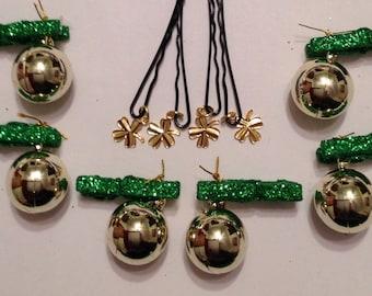 Beard Art Baubles St Patrick's Day Shamrock Hipster set SHAM 10 Green Glitter Clip