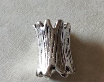 Rustic Celtic Viking Beard Bead Dread Bead Antiqued Silver Large Hole