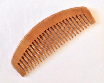 Organic Natural Peach Wood Wide Tooth Beard Comb UB's Beard Basics Anti Static Massage