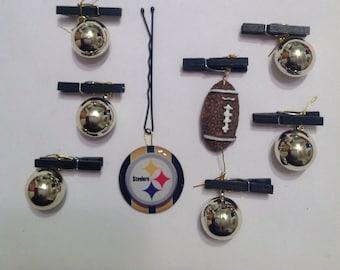 SportNaments Football Beard Bauble Ornaments Beard Art Baubles Football Black and Gold Black Clip Pittsburgh Steelers
