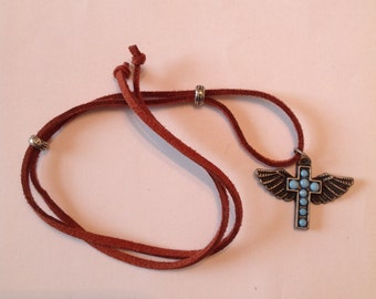 Silver and Turquoise Cross and Suede Beard Wrap by Beard Art Baubles