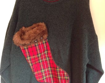 Men's Ugly Christmas Sweater XXL Tacky Sweater Party Sweater Green Eddie Bauer Wool Upcycled Hand Made with Wine Bottle Pouch