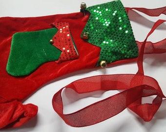 Boozenaments Christmas Stocking Cross Body Bag Wine Bag Unisex Ugly Christmas Sweater Bag with small pocket for shot glasses