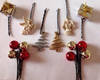 Beard Art Baubles Christmas Beard For Beard Season Hipster Set of  14 Angels and Trees