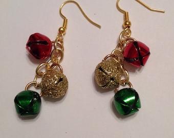 Christmas Ornament Earrings Christmas Bauble Earrings Christmas Earrings Bell Earrings Jingle Bell Earrings