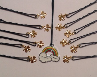 Beard Art Baubles St. Patrick's Day Rainbow and Shamrock Gift Set of 13 Gold or Silver Baubles