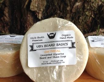 Oatmeal Unscented Glycerine Beard and Shave Soap UB's Beard Basics 3.5 oz.