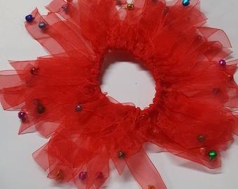 PetNaments Christmas Neckwear Elasticized Jingle Bell Harlequin Collar Red Christmas Cat and Dog Neckwear