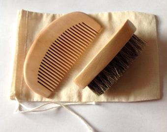 Boar Bristle Beard Brush and Beard Comb Set Beard Basics Travel Size Cotton Muslin Bag