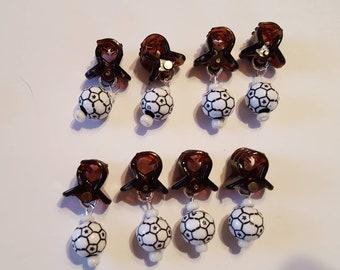 SportNaments Soccer Beard Ornaments Beard Art Baubles Set of 8 Beard Bauble Ornaments