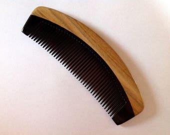 Organic Fine Tooth Black Buffalo Horn and Green Sandalwood Hair and Beard Comb Beard Basics Hair Comb