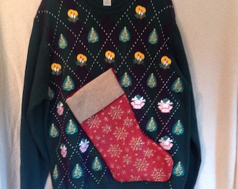 Men's Ugly Christmas Sweater L Party Hand Made Sweater with Bottle Pocket Wine Carrier Sweater BYOB Pocket