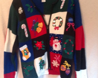 Vintage Ugly Christmas Sweater Party Tacky Sweater Zipper Handmade Cardigan Sweater
