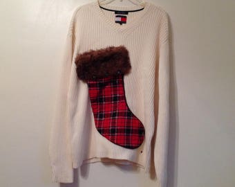 Men's Ugly Christmas Sweater XL Tacky Sweater Party Tommy Hilfiger Sweater Upcycled Hand Made with Wine Bottle Pouch