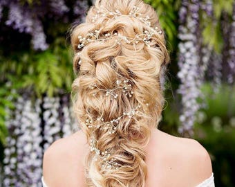 Extra Long Twisting Delicate Bridal Hair Vine - Hair Up - Boho Wedding - 'Grace'