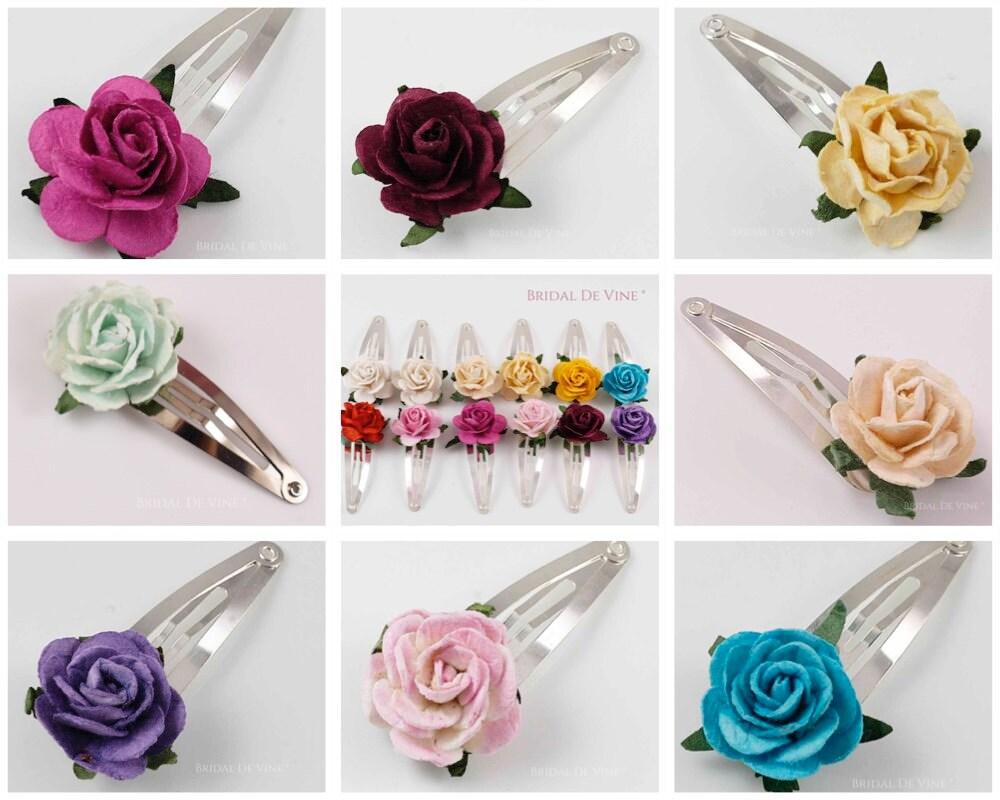 Wedding hair clip Bridesmaids gifts flower hair clip Flower girl gift Flower snap clips for bridesmaids Red flower snap clip
