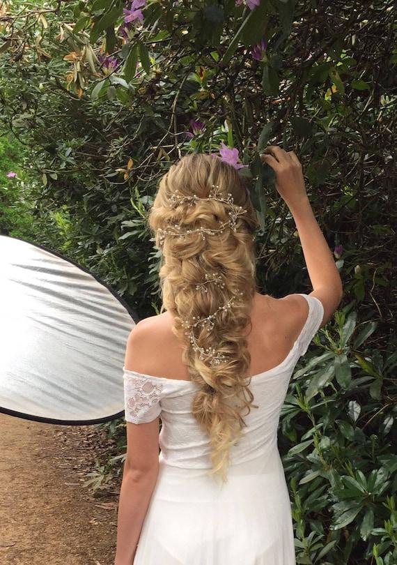 /'Grace/' Hair Up Boho Wedding Long Twisting Delicate Bridal Hair Vine Wedding Hair Vine