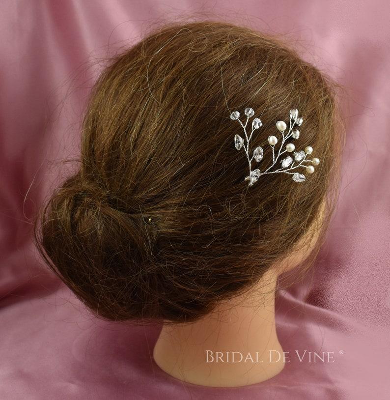 Bridal Hair Pins Pearl /& Crystal Hair Piece