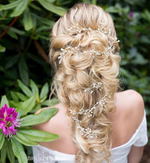 Twisting Delicate Bridal Hair Vine Freshwater Pearl Hair Vine Hair Up Boho Wedding /'Fern/' Hair Accessory