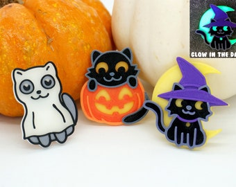 Halloween Cat Pins *GLOW in the DARK* - 3D printed - Jack-o-lantern, Pumpkin, Ghost, Witch Hat Costume, Moon, Cute