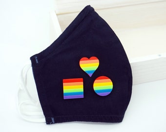 Rainbow Magnetic Mask Charm Accessory - 3D printed - LGBTQ Pride, Love is Love, Proud AF, Dad, Mom, Ally, Circle, Square, Heart flag