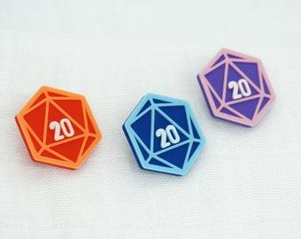 D20 Pins - 3D Printed - Purple, Blue, Red, TTG, RPG, DND, Dice