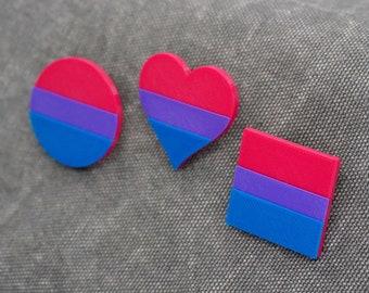 Bi Pride Pins - 3D printed - LGBTQ, Love is Love, Proud AF, Heart, Circle, Square Flag, Bisexual, Pink, Purple, Blue