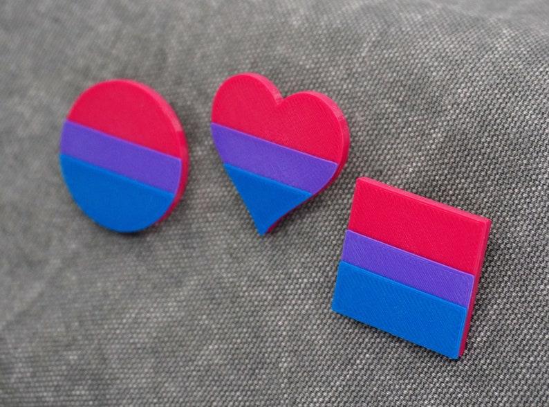 Bi Pride Pins  3D printed  LGBTQ Love is Love Proud AF image 1