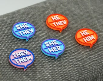Pronouns Mask Charm Accessory - She/Her, He/Him, They/Them - 3D printed - Magnetic