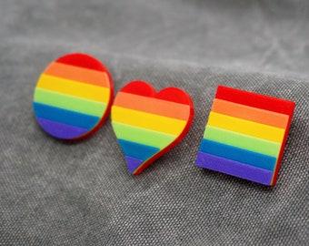 Rainbow Pride Pins - 3D printed - LGBTQ, Love is Love, Gay, Proud AF, Dad, Mom, Ally, Heart, Circle, Square Flag