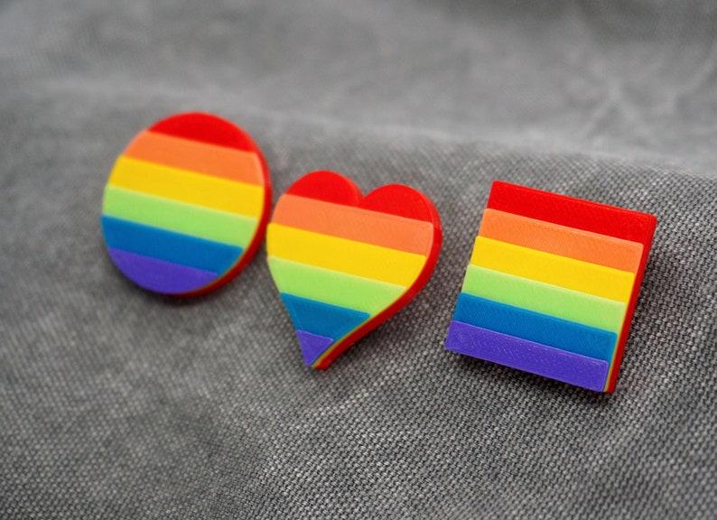 Rainbow Pride Pins  3D printed  LGBTQ Love is Love Gay image 1