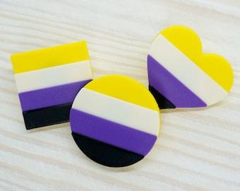Non-binary Pride Pins - 3D printed - LGBTQ, Proud AF, Heart, Circle, Square flag, NB, Enby, Genderfluid, Genderqueer