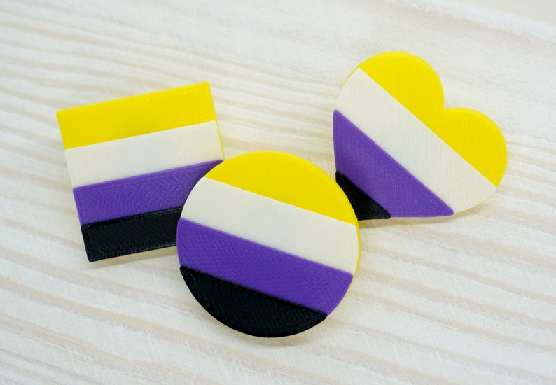 Non-binary Pride Pins  3D printed  LGBTQ Proud AF Heart image 1