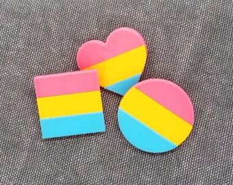 Pan Pride Pins - 3D printed - LGBTQ, Love is Love, Proud AF, Heart, Circle, Square Flag, Pansexual, Bisexual, Pink, Yellow, Blue
