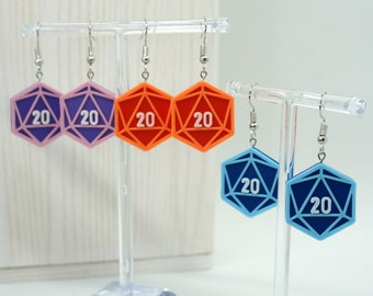 D20 Earrings - 3 pieces - 3D Printed - Dice Gaming TTRPG D&D DND Role Playing