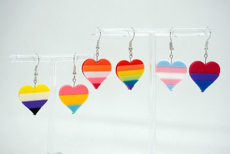 Pride Heart Earrings  3d printed  LGBTQ Rainbow Gay image 1