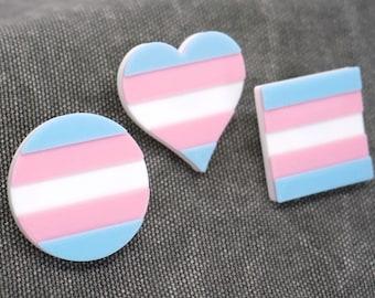 Trans Pride Pins - 3D printed - LGBTQ, Transgender, Circle, Heart, Square flag