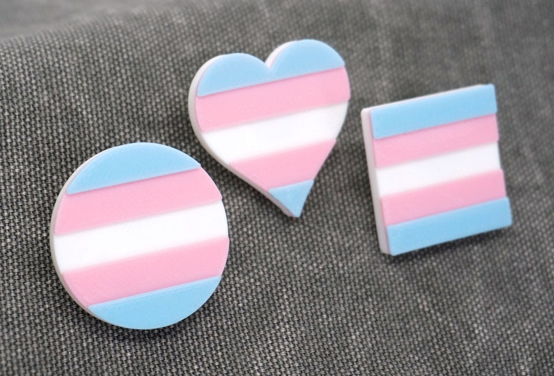 Trans Pride Pins  3D printed  LGBTQ Transgender Circle image 1