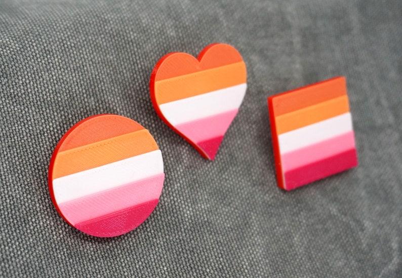 Lesbian Pride Pins  3D printed  LGBTQ Love is Love Heart image 1