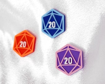 D20 Mask Charm Accessory - 3 pieces - 3D Printed - Magnetic