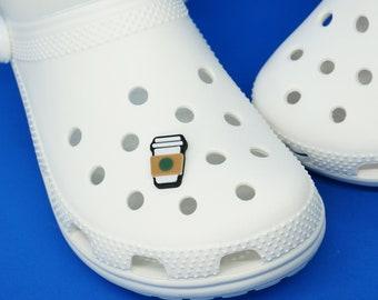 Coffee Cup Foam Clog Shoe Charm - 3d printed - Latte, Caffeine