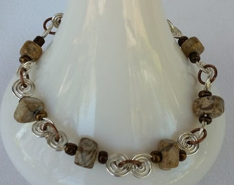 Picture Jasper and Wire Spirals Bracelet