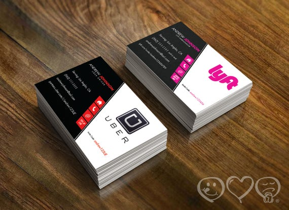 Lyft Business Cards >> Double Sided Uber And Lyft Business Card Uber Front Lyft Back 16pt Uber And Lyft Driver Referral Cards
