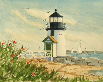 Nantucket Lighthouse - limited edition watercolor print, sailing light house, painting art