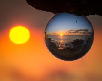 """Sunset Ball- Ocean Sunset through a glass ball  - 5x7"""" frameable"""